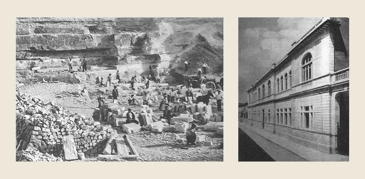 Le cave di pietra a Comiso negli anni 30.  La nuova Scuola d'arte nel 1937
