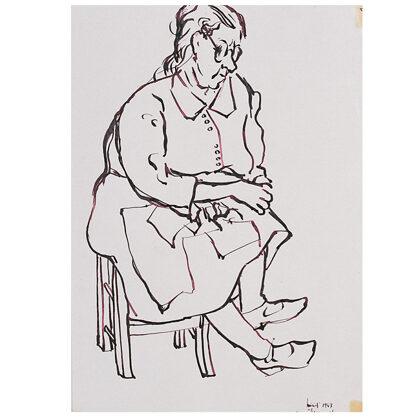 """""""Mia nonna"""" figura 1 inchiostro su carta 1947 cm 28 X 20"""