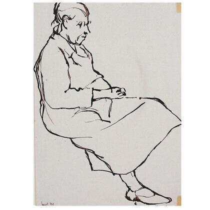 """""""Mia nonna"""" figura 2 inchiostro su carta 1947 cm 28 X 20"""