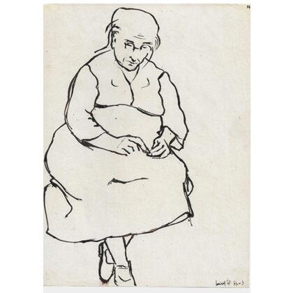 """""""Mia nonna"""" figura 3 inchiostro su carta 1947 cm 28 X 20"""
