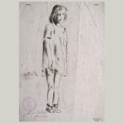 """Fanciulla"" 1944, matita su carta cm 24 x 19"