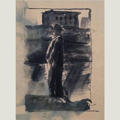 """""""Passeggiata sul lungarno"""" 1940 china acquarellata"""