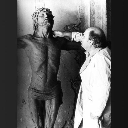 """""""Crocifisso"""" 1982 modello in argilla per fusione in bronzo, grandezza naturale"""