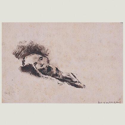 """""""Studio di una testa di morto"""" 1945, carboncino cm 1 x 24"""