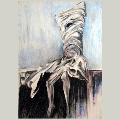 """""""Giovane che si spoglia"""" 1979 pastelli oleosi su carta cm 50 x 35"""