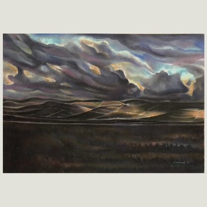 """""""Paesaggio ibleo"""" 1981 pastelli oleosi su carta cm 35 x 50"""