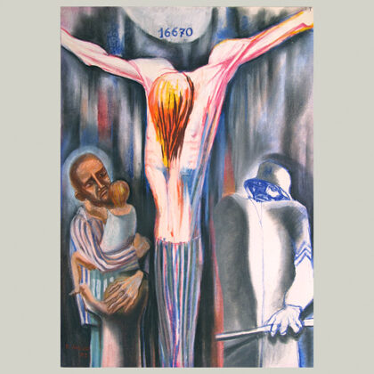 """""""Identità con Cristo e i fratelli"""" 1983 pastelli oleosi su carta cm 50 x 35"""