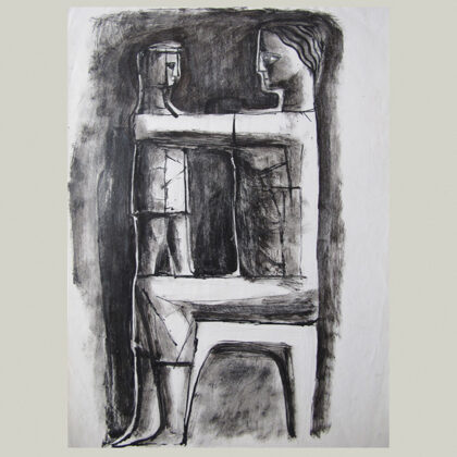 """Studio maternità"" 1959 carboncino"