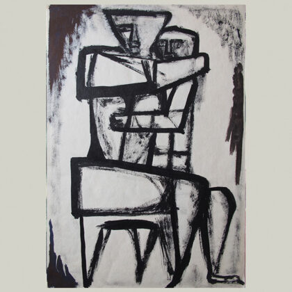 """Studio maternità"" 1959, china a pennello,cm 36,5 x 24,5"