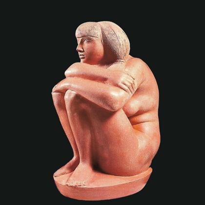"""""""Donna al sole"""" 1981 terracotta cm 34x24x17"""