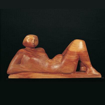 """""""Progetto per statua da giardino"""" 1986 legno di carrubo cm 49x24x18"""