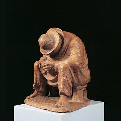 """Uomo stanco"" 1980 terracotta cm 24x21x21"