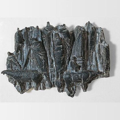 """Convegno di pastori"" 1965 ceramica nero opaco metallico cm 30x65"