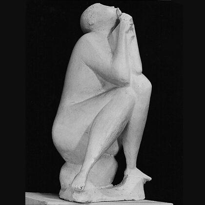 """""""Cornamusa"""" 1950, gesso cm 75 x 40 x 40   esposta al Premio Gemito 1957 Napoli"""