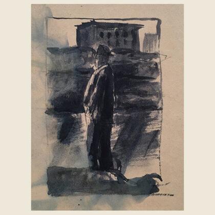 """""""Passeggiata sul lungarno"""" 1940 china acquerellata"""
