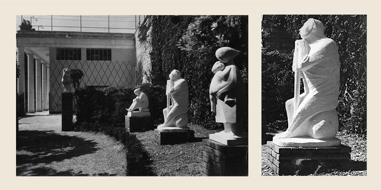 """Giuseppe Micieli. """"Maternità"""", """"Il cavapietra"""", """"Le sorelle"""" le sculture in pietra di Vicenza esposte all'Ente Fiera di Vicenza nel 1952."""