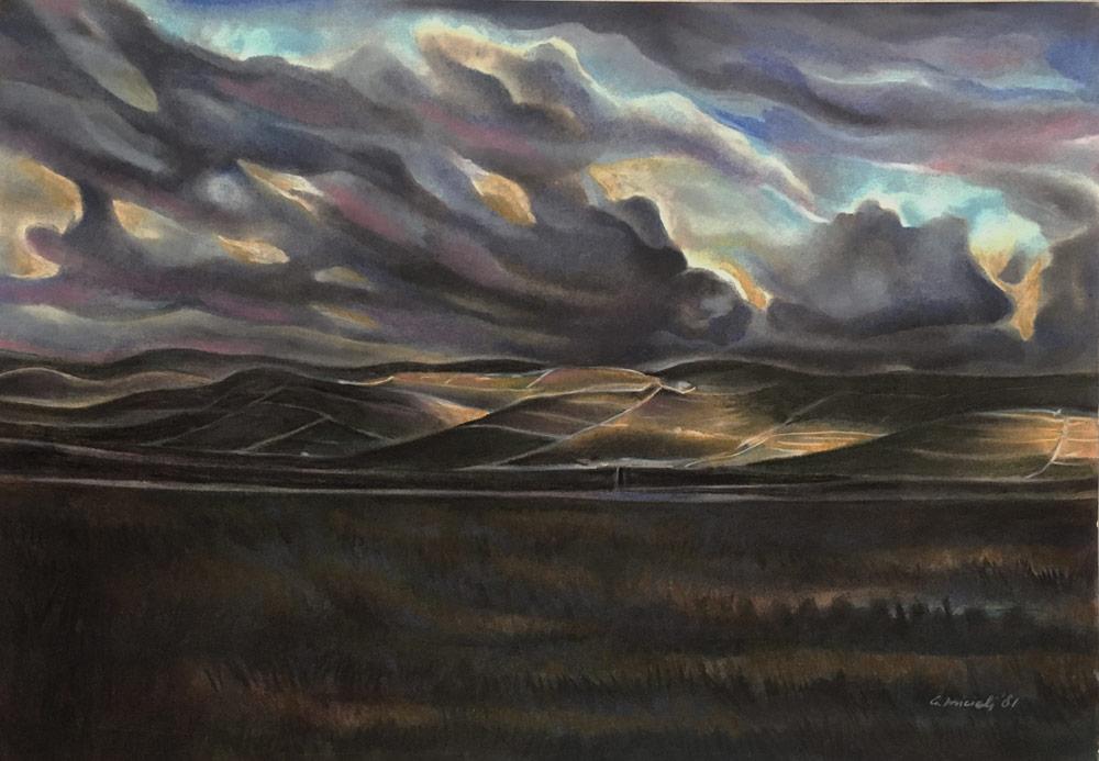 "G. Micieli. ""Paesaggio ibleo"" 1981 pastelli oleosi su carta cm 35 x 50"